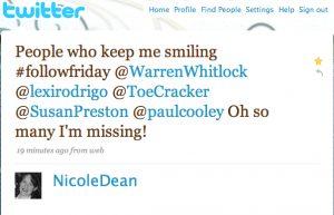 Nicole Dean Twitter Testimonial