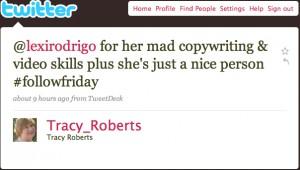 Tracy Roberts Twitter Testimonials
