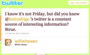 Willie Hewes Twitter Testimonial