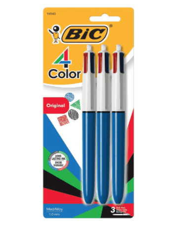 BIC 4-Color Ball Pen, Medium Point (1.0mm), Assorted Ink