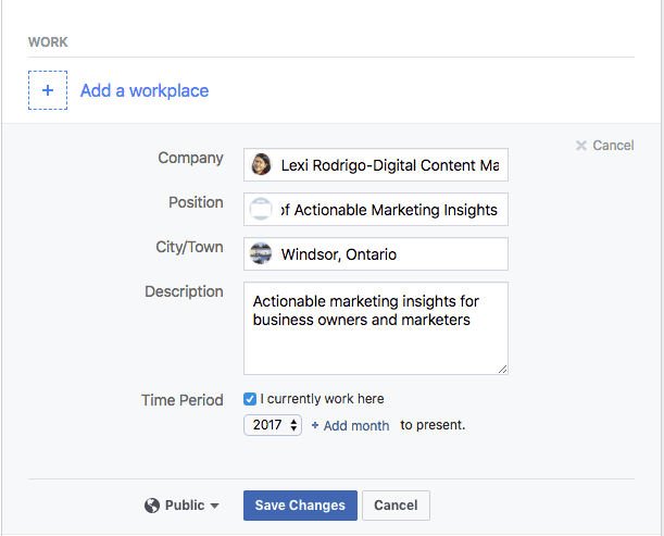 Facebook marketing add workplace