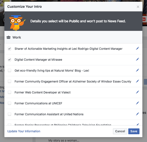 Facebook marketing customize your intro